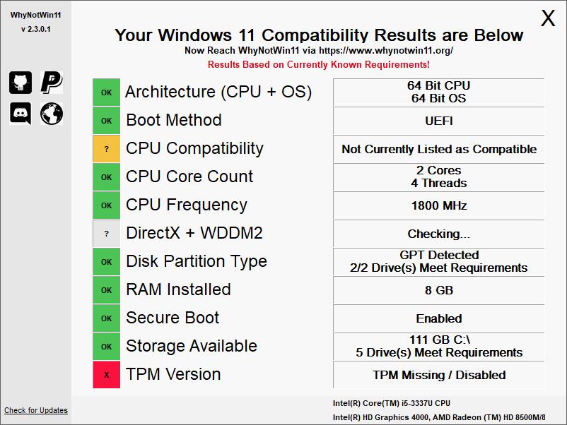 windows 11 hardware compatibility check